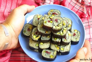 raw baklava sushi roll